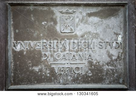 The Plaque of the University of Catania near the Cathedral and the centre of the city