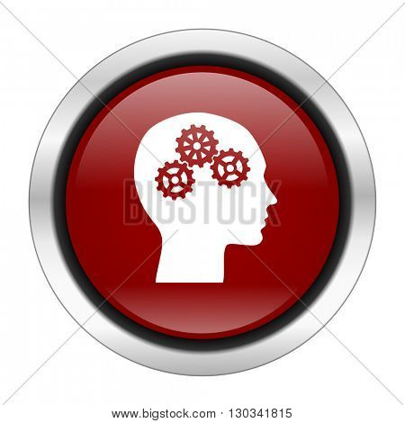 head icon, red round button isolated on white background, web design illustration