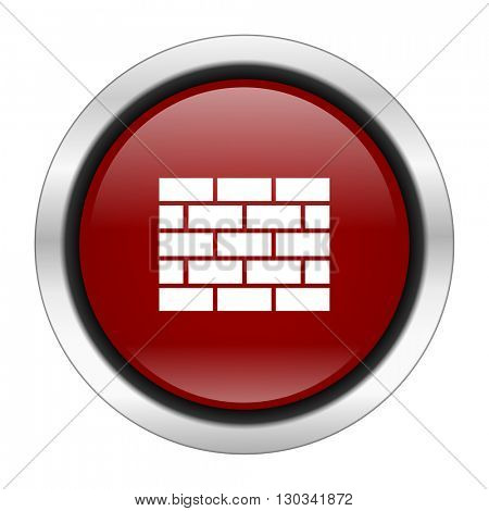 firewall icon, red round button isolated on white background, web design illustration