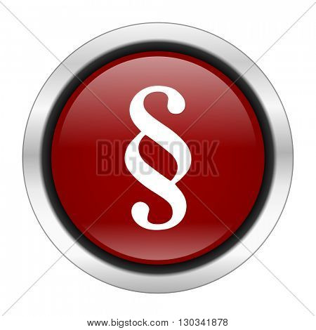 paragraph icon, red round button isolated on white background, web design illustration