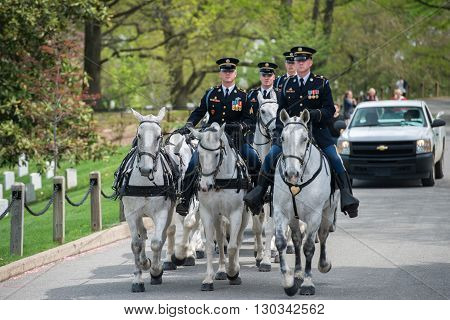 Washington D.c., Usa - May, 2 2014 - Us Army Marine Funeral At Arlington Cemetery