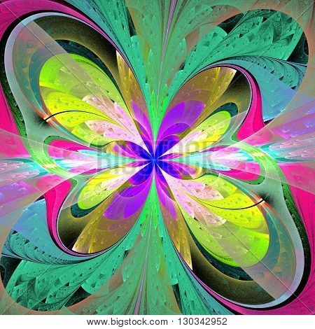Multicolored asymmetrical fractal flower in stained glass window style. Element of design. You can use it for invitations notebook covers phone case postcards cards and so on. Artwork for creative design.