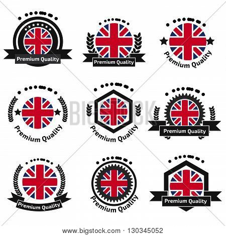 Made In U.k Badge Set With United Kingdom Flag Symbol.