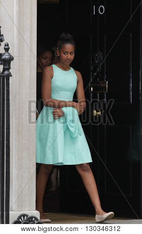 LONDON, UK - JUNE 16, 2015: Malia Obama seen leaving 10 Downing street in London