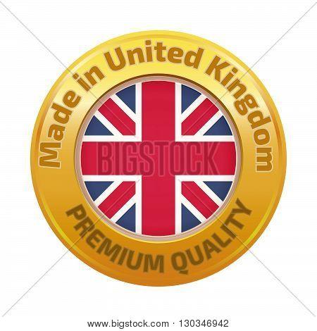 Made In U.k Badge With United Kingdom Flag Symbol