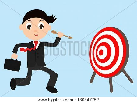 Business man holding dart target and idea bag run to goals target (Bullseye), Goal target success business investment financial strategy education concept