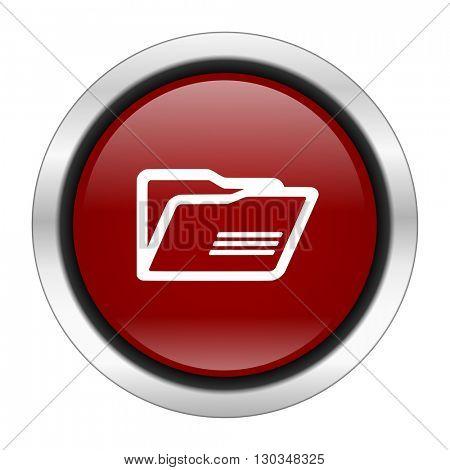folder icon, red round button isolated on white background, web design illustration
