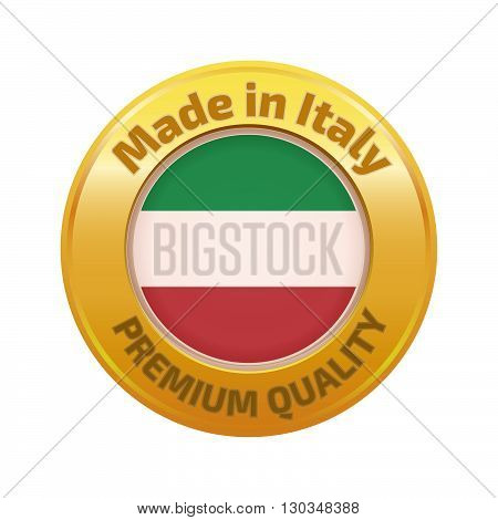 Made in Italy badge gold. Stock vector. Vector illustration.