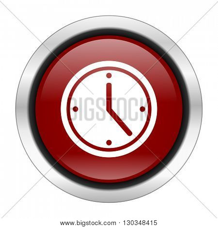 time icon, red round button isolated on white background, web design illustration