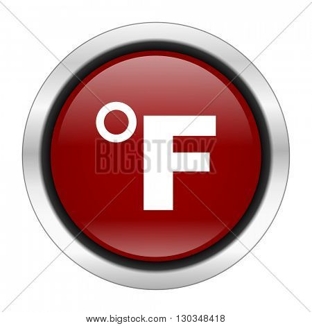 fahrenheit icon, red round button isolated on white background, web design illustration