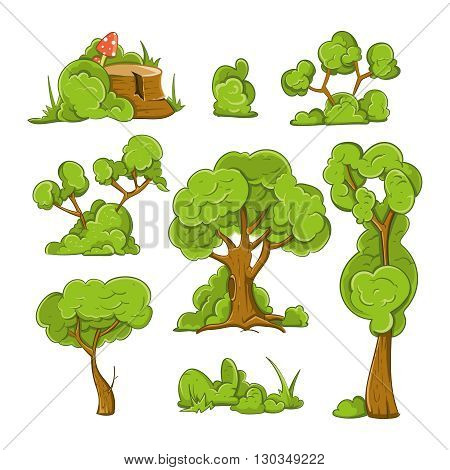 Cartoon trees and bushes vector set. Plant tree, bush and green tree, forest tree illustration