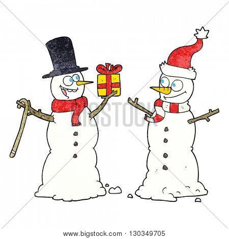 freehand textured cartoon snowmen exchanging gifts