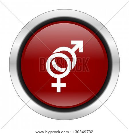 sex icon, red round button isolated on white background, web design illustration