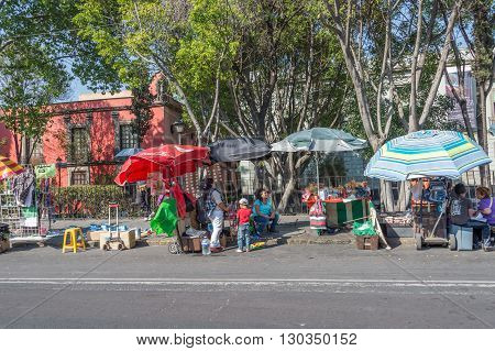 MEXICO CITY MEXICO - FEBRUARY 9 2015 - Poor People buying in street shops