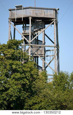 hexagonal lookout tower from wood - Burgstall in upper austria