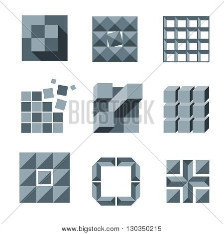 Cube, square and pixel logo vector set. Creativity idea icons. Square pixel logo, geometric pixel cube element, modern creative pixel structure illustration
