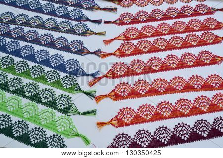 with bobbin lace handmade lace - different colors