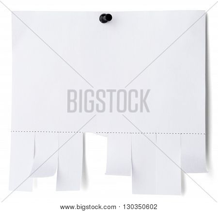 Tear off paper notice with shadow on wall. Isolated on white