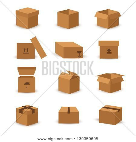 Flat box and packing vector icon. Box package, packaging cardboard box, carton box illustration