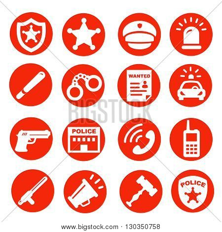 police and justice icons set, red buttons symbols