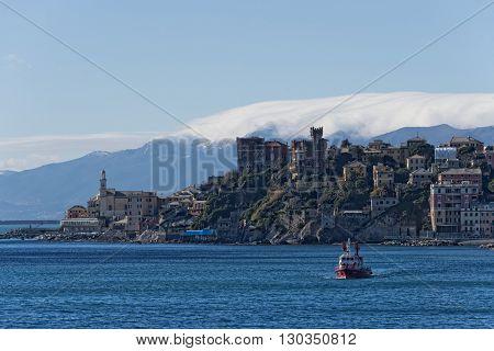 Genoa Coastal Houses Cityscape Panorama On Sunny Winter Day