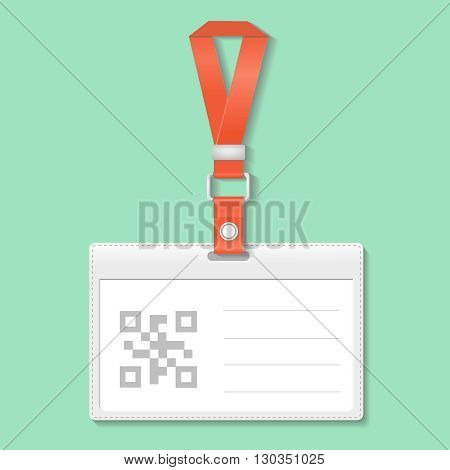 Identification badge card with Bar and Qr code, Scan barcode