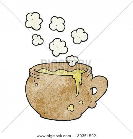 freehand textured cartoon mug of soup