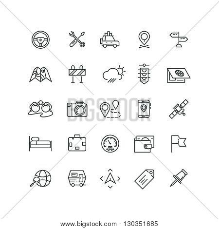 Road and auto line icons. Auto car road, transport traffic car icon, transportation car road set icon illustration