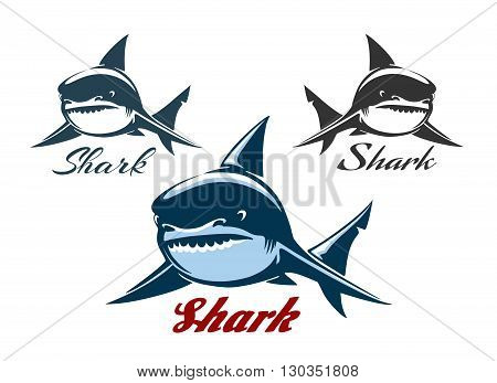Big Sharks logo set. Animal hunter emblem company branding images with text samples. Isolated on white.