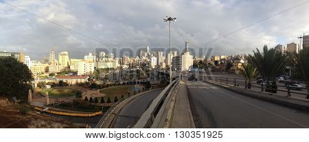 Modern high-rise buildings in the center of Beirut, Lebanon illustrated architecture innovation in this city