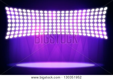 Spotlights shining in dark place background. Template for your texts and products