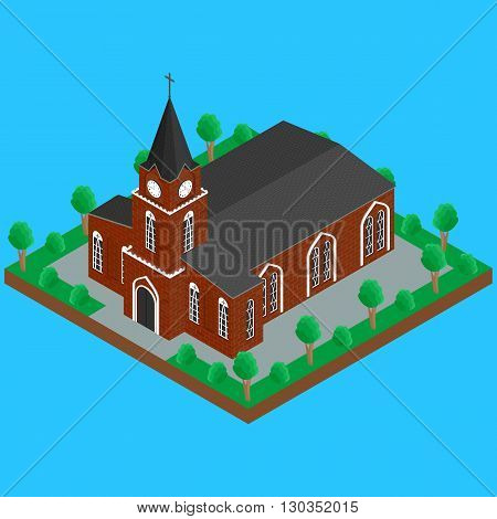 Vector illustration. The Catholic Christian Church with a spire on the street the trees the road. isometric infographics 3D