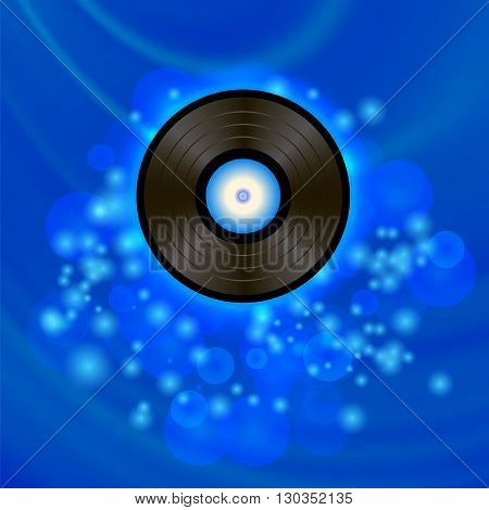 Retro Vinyl Disc on Blue Blurred Background
