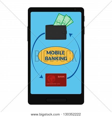 vector icon of mobile banking. Smartphone with icon wallet with money and credit card. Illustration