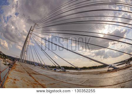 Ada Bridge On River Sava, Belgrade, Serbia