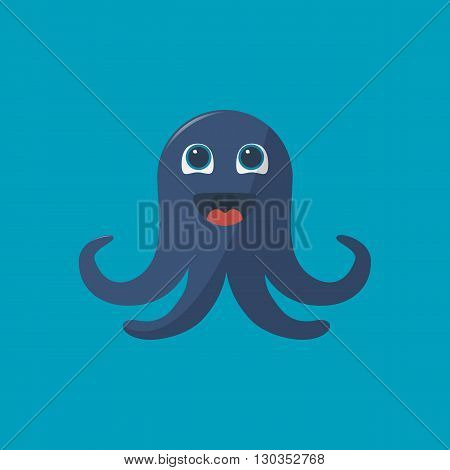 The happy cartooning octopus in the flat design