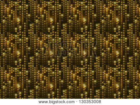 Golden matrix symbols digital binary code on dark background a4 size