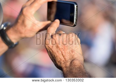 Hands Photographing With Cellular Phone