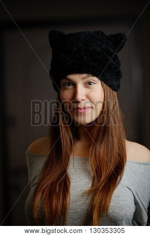 photo of beautiful young woman with long hair