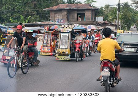 Cebu - Philippines - January,7 2013 - Town Street Congested Traffic