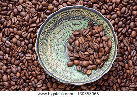 coffee beans ceramic plate caffeine wallpaper backdrop