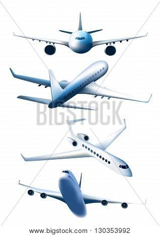 Set of airplanes in different foreshortening isolated on white background. Passenger aircraft. Vector illustration.