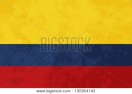 True proportions Colombia flag with grunge texture