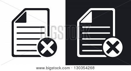 Vector document icon with delete or abort glyph. Two-tone version on black and white background