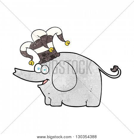 freehand textured cartoon elephant wearing circus hat