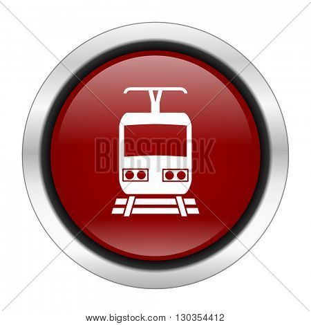train icon, red round button isolated on white background, web design illustration