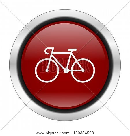 bicycle icon, red round button isolated on white background, web design illustration