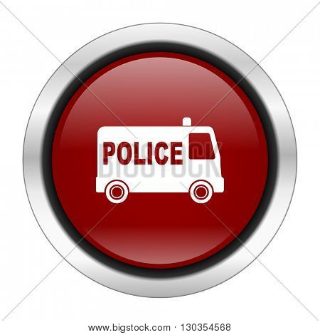 police icon, red round button isolated on white background, web design illustration