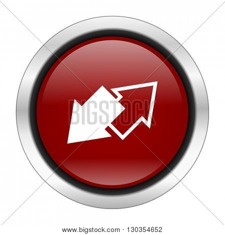 exchange icon, red round button isolated on white background, web design illustration