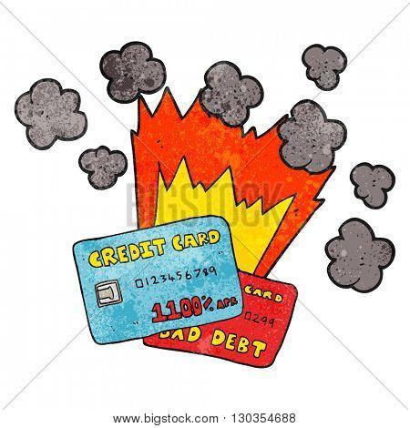 freehand textured cartoon credit card debt